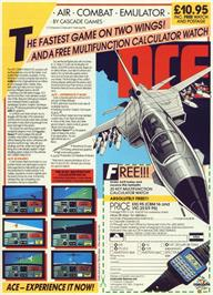 Advert for Ace: Air Combat Emulator on the Commodore 64.