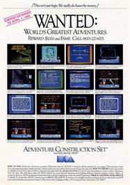 Advert for Adventure Construction Set on the Commodore 64.