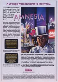 Advert for Amnesia on the Commodore 64.