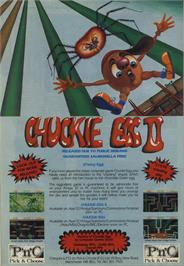 Advert for Chuckie Egg on the Atari 8-bit.