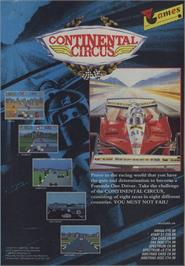 Advert for Continental Circus on the Commodore 64.