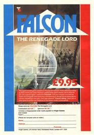 Advert for Falcon: The Renegade Lord on the Commodore 64.