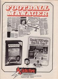 Advert for Football Manager on the Commodore 64.
