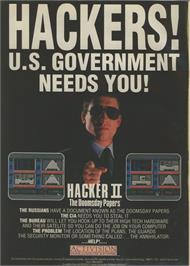 Advert for Hacker II: The Doomsday Papers on the Commodore 64.