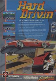 Advert for Hard Drivin' on the Commodore 64.