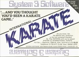 Advert for International Karate on the Commodore 64.