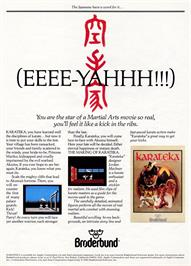Advert for Karateka on the Commodore 64.
