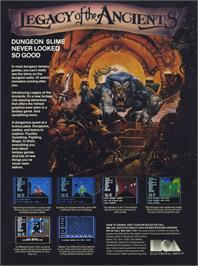 Advert for Legacy of the Ancients on the Commodore 64.