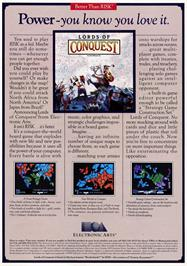 Advert for Lords of Conquest on the Atari ST.