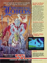 Advert for Medieval Lords: Soldier Kings of Europe on the Commodore 64.