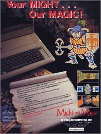 Advert for Might and Magic: Book I on the Commodore 64.