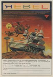 Advert for Rebel on the Commodore 64.