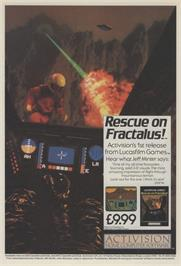 Advert for Rescue on Fractalus! on the Commodore 64.