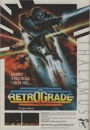 Advert for Retrograde on the Commodore 64.