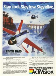 Advert for River Raid on the Atari 8-bit.