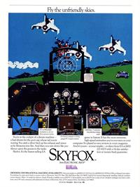 Advert for Skyfox on the Commodore 64.