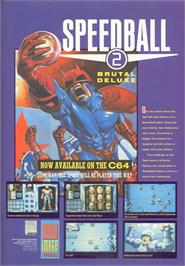 Advert for Speedball 2: Brutal Deluxe on the Commodore 64.