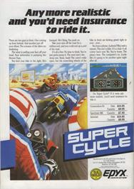 Advert for Super Cycle on the Commodore 64.