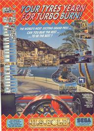 Advert for Super Monaco GP on the Commodore 64.