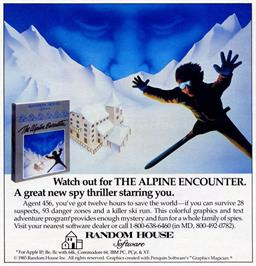 Advert for The Alpine Encounter on the Apple II.