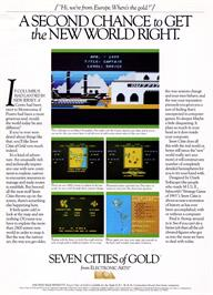 Advert for The Seven Cities of Gold on the Commodore 64.