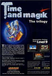 Advert for Time and Magik: The Trilogy on the Commodore 64.