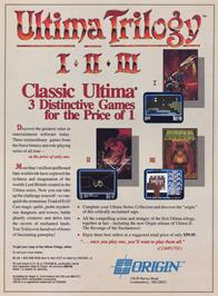 Advert for Ultima Trilogy on the Commodore 64.