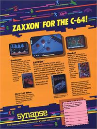 Advert for Zaxxon on the Commodore 64.