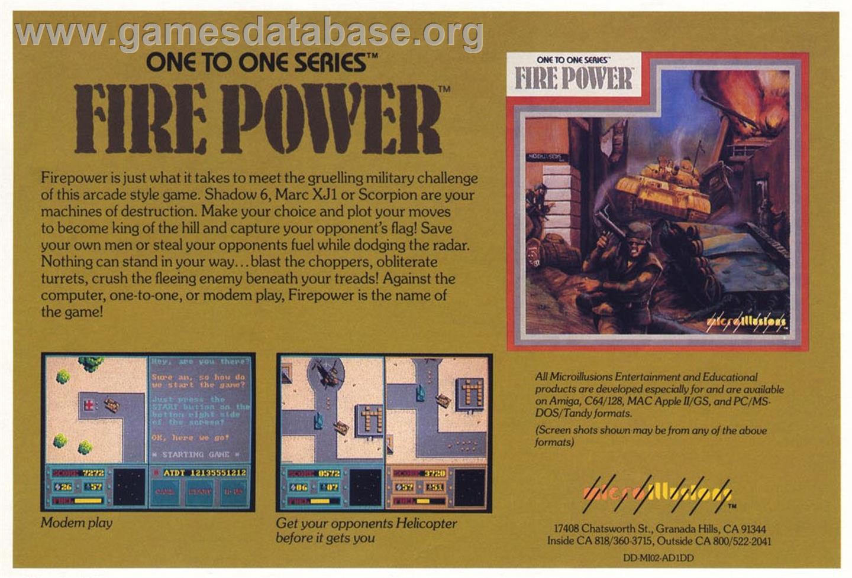 Fire Power - Commodore Amiga - Artwork - Advert