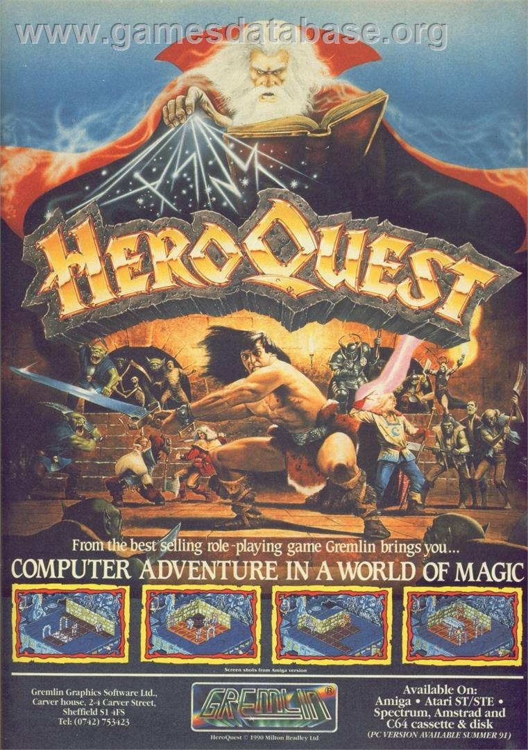 Advert for Hero Quest: Return of the Witch Lord on the Commodore 64.