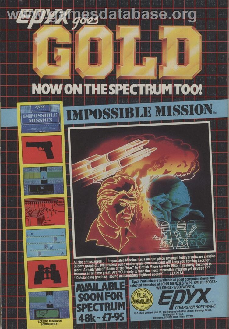 Impossible Mission - Commodore 64 - Artwork - Advert