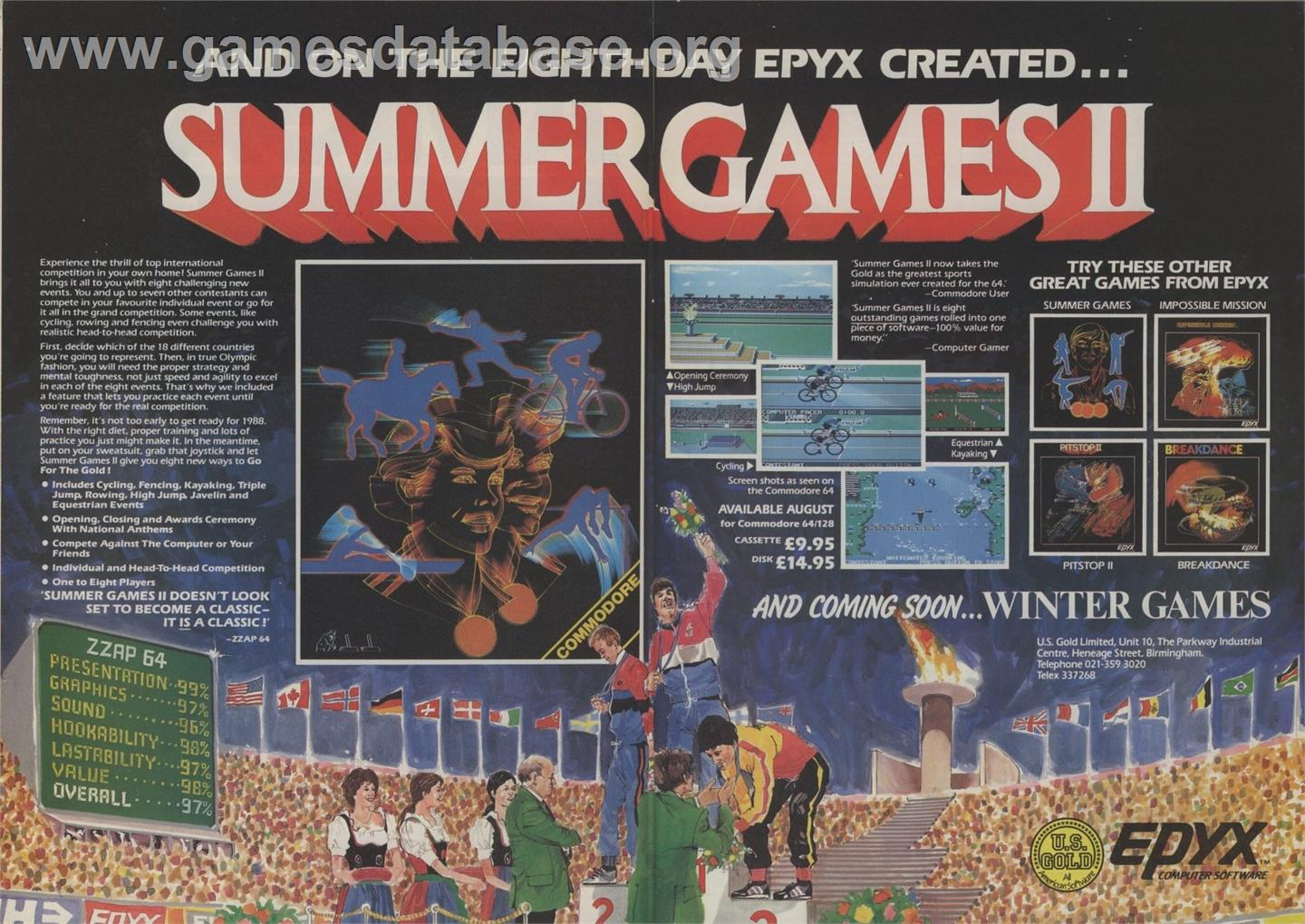 Summer Games - Atari 8-bit - Artwork - Advert