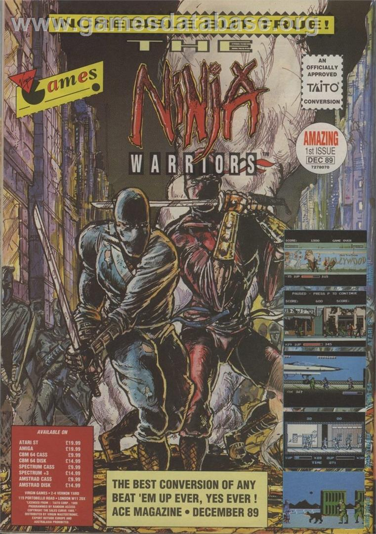 The Ninja Warriors - Commodore 64 - Artwork - Advert