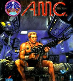 Box cover for A.M.C.: Astro Marine Corps on the Commodore 64.