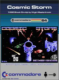 Box cover for Cosmic Storm on the Commodore 64.