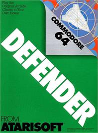 Box cover for Defender on the Commodore 64.
