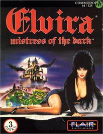 Box cover for Elvira: Mistress of the Dark on the Commodore 64.