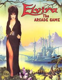 Box cover for Elvira: The Arcade Game on the Commodore 64.