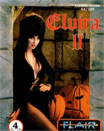 Box cover for Elvira II: The Jaws of Cerberus on the Commodore 64.
