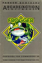 Box cover for Frogger on the Commodore 64.