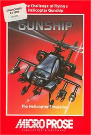 Box cover for Gunship on the Commodore 64.