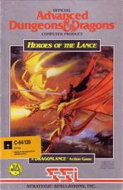 Box cover for Heroes of the Lance on the Commodore 64.