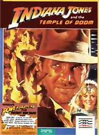 Box cover for Indiana Jones and the Temple of Doom on the Commodore 64.