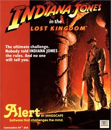 Box cover for Indiana Jones in the Lost Kingdom on the Commodore 64.