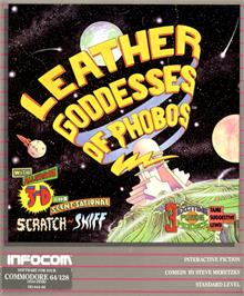 Box cover for Leather Goddesses of Phobos on the Commodore 64.