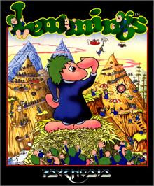 Box cover for Lemmings on the Commodore 64.