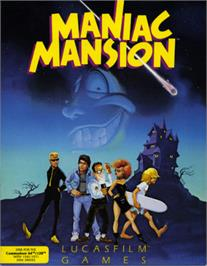 Box cover for Maniac Mansion on the Commodore 64.
