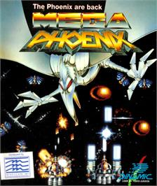 Box cover for Mega Phoenix on the Commodore 64.