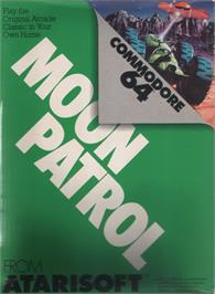 Box cover for Moon Patrol on the Commodore 64.