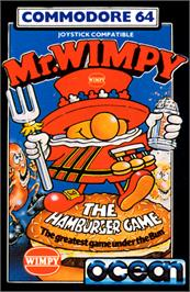 Box cover for Mr. Wimpy: The Hamburger Game on the Commodore 64.